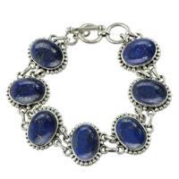Handmade Sterling Silver 'Heavenly Love' Lapis Lazuli Bracelet (India)