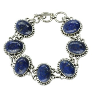 Handmade Sterling Silver 'Heavenly Love' Lapis Lazuli Bracelet (India)
