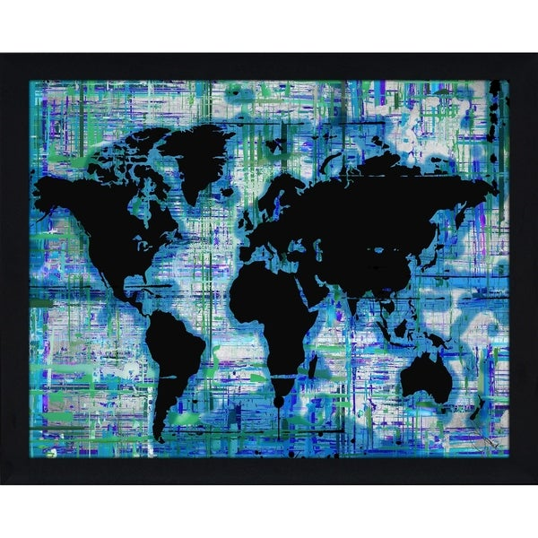 mad world blue copy by by jodi framed print under glass
