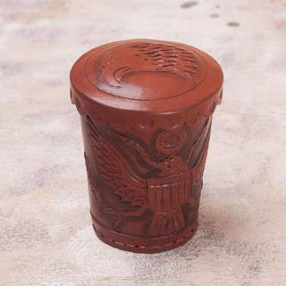 Handmade Leather 'American Patriot' Dice Cup and Dice Set (Peru)