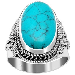 Handmade Sterling Silver Oxidized Bali Beaded Oval Gemstone Ring (More options available)