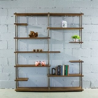 Furniture Pipeline Nashville Industrial Mid-Century 11-Shelf Etagere Bookcase