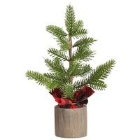 """13"""" Pine Tree In Wood Container Green"""
