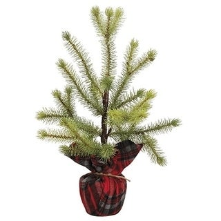 """16.5"""" Pine Tree In Plaid BagGreen"""