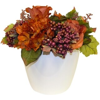 Autumn Floral In White Ceramic Vase