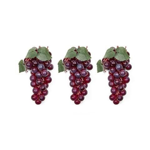 A Set Of 3 Soft Touch Faux Grapes -- L (48 Grapes Per Cluster)