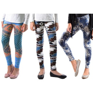 Girls Leggings Fun Print Soft AND Light Fit Girls ONE Size 4-5 to 6-7 Year Old (3-Pack)