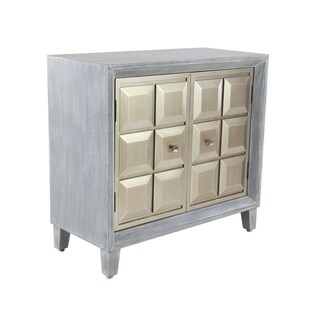 Modern 32 x 34 Inch Wood and Stainless Steel Two-Door Cabinet
