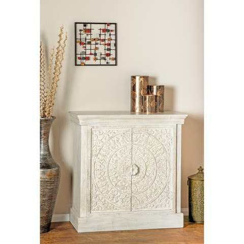 Rustic 36 x 34 Inch White Square Carved Wooden Chest by Studio 350