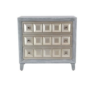 Modern 32 x 34 Inch Wood and Stainless Steel Three-Drawer Cabinet
