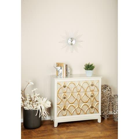 Modern 33 x 34 Inch Wood and Iron Three-Drawer Cabinet