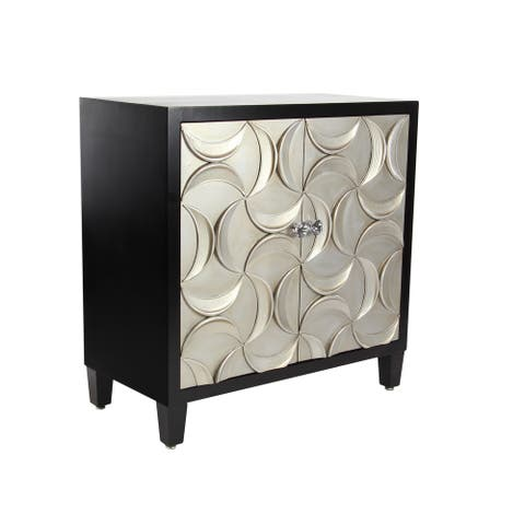 Modern 32 x 31 Inch Wood and Iron Two-Door Cabinet