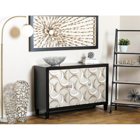 Modern 32 x 47 Inch Wood and Iron Three-Door Cabinet