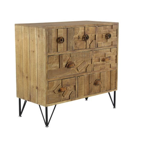 The Curated Nomad Pauling Rustic 7-drawer Rectangular Wooden Chest