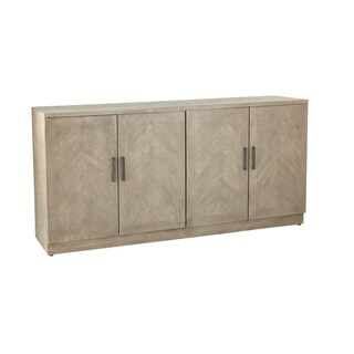 Modern 35 x 72 Inch Gray Wooden Four-Door Sideboard