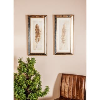 Set of 3 Natural 32 x 15 Inch Framed Feather Wall Art by Studio 350 - Grey/Brown