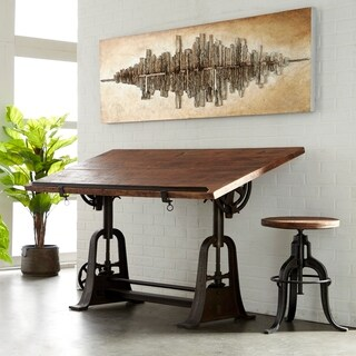 Rustic 34 x 62 Inch Wood and Iron Rectangular Drafting Table