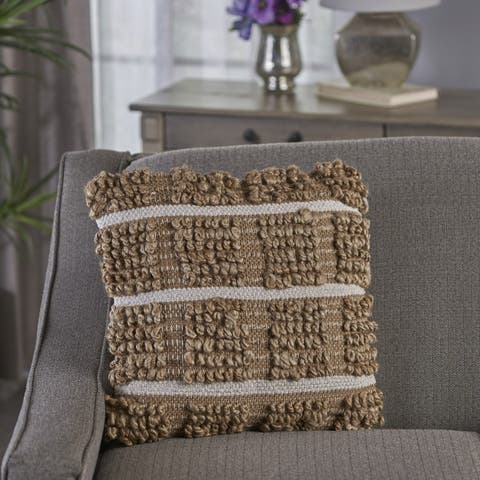 Selki Square Jute Pillow by Christopher Knight Home