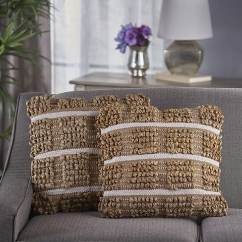 Selki Square Jute Pillow (Set of 2) by Christopher Knight Home