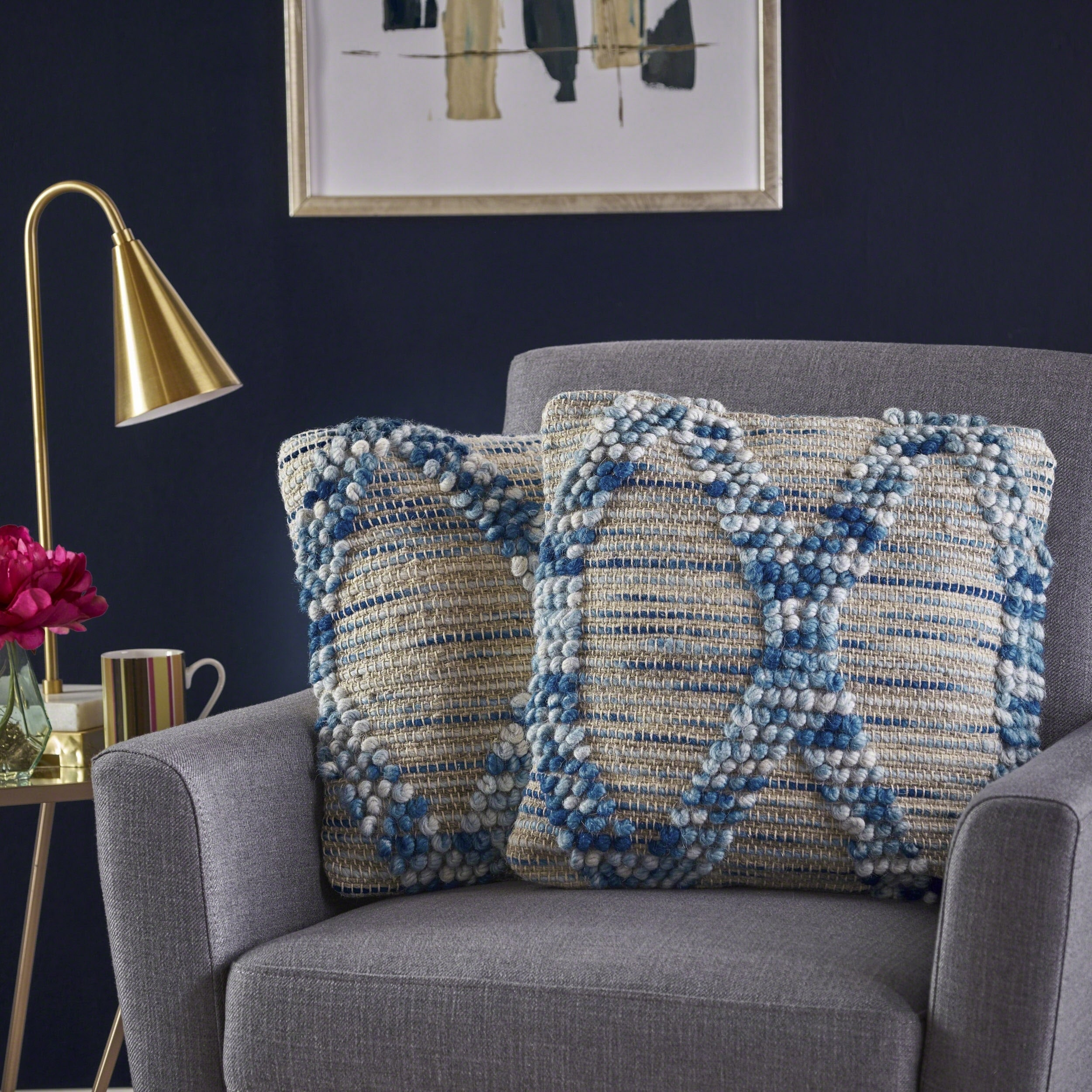 Tarim Square Hemp Wool Pillow (Set of 2) by Christopher Knight Home