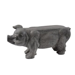 Eclectic 14 x 28 Inch Polystone Pig Bench