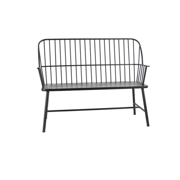 Traditional 38 X 48 Inch Black Iron Patio Bench