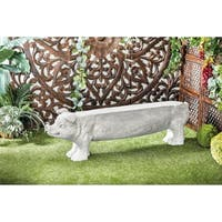 Eclectic 17 x 52 Inch Polystone Pig Imitation Bench by Studio 350