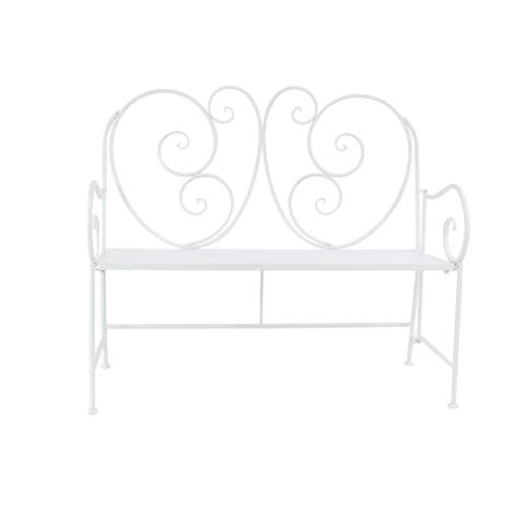Traditional 39 x 43 Inch White Iron and Wood Scroll Patio Bench