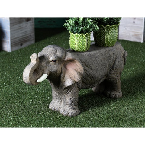 Eclectic 17 x 31 Inch Textured Elephant Imitation Bench