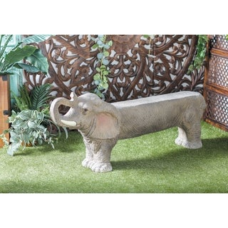 Eclectic 23 x 57 Inch Gray Polystone Elephant Imitation Bench