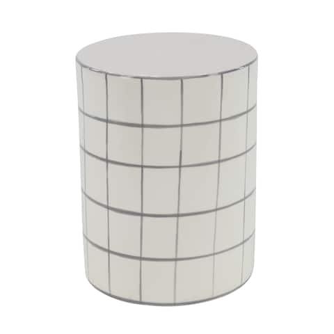 Modern 16 x 12 Inch White Cylindrical Ceramic Stool