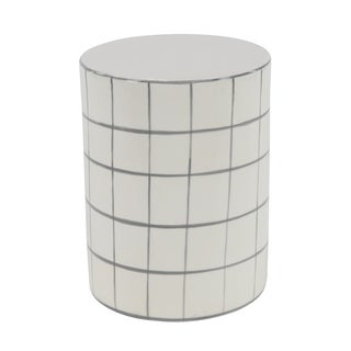 Modern 16 x 12 Inch White Cylindrical Ceramic Stool