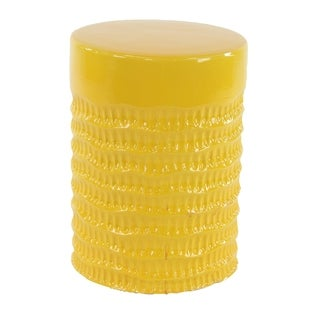 Eclectic 18 x 13 Inch Yellow Ceramic Stool