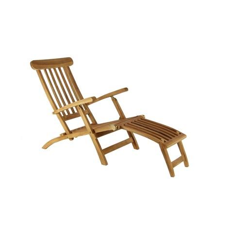 Farmhouse 36 x 61 Inch Brown Teak Wood Steamer Chair