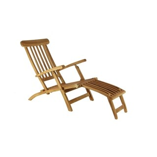Farmhouse 36 x 61 Inch Brown Teak Wood Steamer Chair