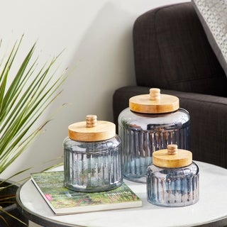 Set of 3 Farmhouse 5, 6 and 8 Inch Gray Glass Jars with Wooden Lids - Silver