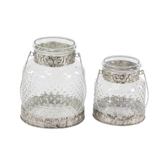 Set of 2 Rustic 7 and 9 Inch Glass Jar Candle Holders with Handles - Silver