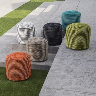 Conney Outdoor Round Pouf Ottoman by Christopher Knight Home