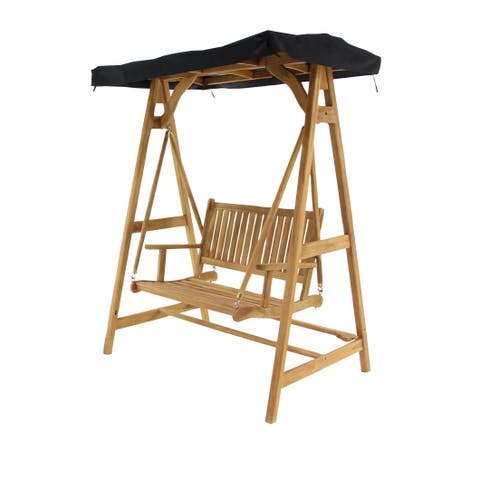 Traditional 78 x 60 Inch Brown Teak Wood Roofed Outdoor Swing Chair