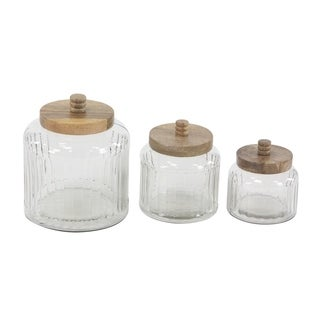 Set of 3 Farmhouse 5, 6 and 8 Inch Clear Glass Jars with Wooden Lids - Silver
