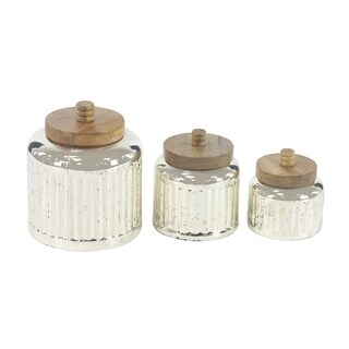 Set of 3 Rustic 5, 7 and 9 Inch Silver Glass Jars with Wooden Lids