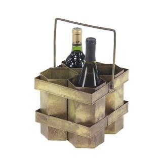 Rustic 12 x 12 Inch Brass Gold Four-Bottle Wine Holder