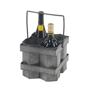 Rustic 7 x 8 Inch Four-Bottle Wine Holder