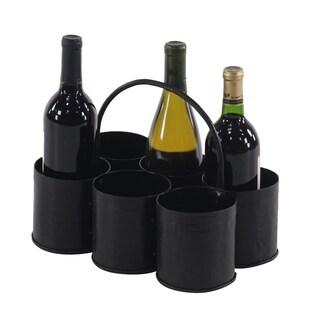 Farmhouse 5 x 12 Inch Gray Iron Six-Bottle Wine Holder