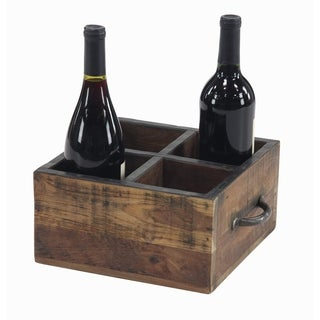 Rustic 5 x 10 Inch Rectangular Brown Wood Four-Bottle Wine Holder