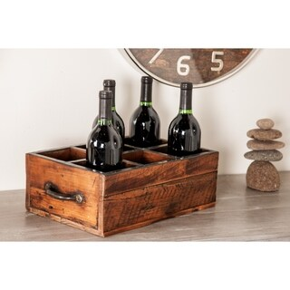 Rustic 5 x 16 Inch Rectangular Brown Wood Six-Bottle Wine Holder