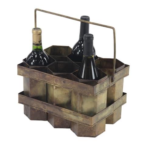 Rustic 7 x 11 Inch Brass Gold Six-Bottle Wine Holder