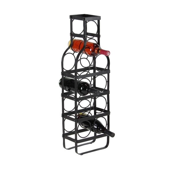 Contemporary 30 X 6 Inch Bottle Shaped Iron Wine Rack