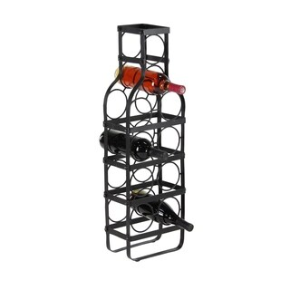 Contemporary 30 x 6 Inch Bottle-Shaped Iron Wine Rack