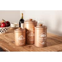 Set of 3 Farmhouse 7, 9 and 10 Inch Round Brown Canisters with Lids